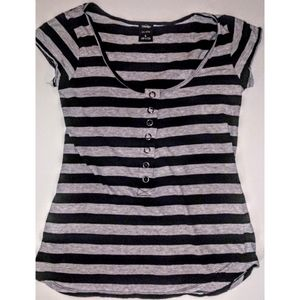 3/$24! Vanity Shaped Cotton Striped Snap Tee